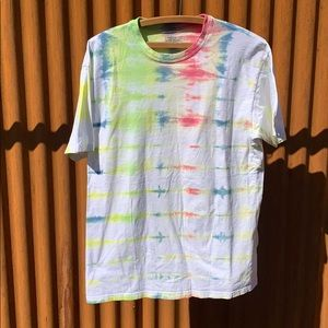 Mens hand dyed tie dye tee white yellow blue red